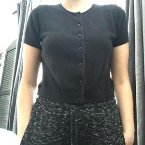 Black Ralph Lauren buttondown sweater short sleeve